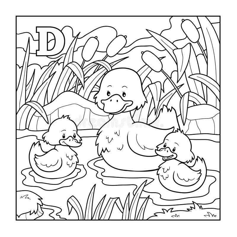 Libro de colorear (pato), ejemplo descolorido (letra D) libre illustration
