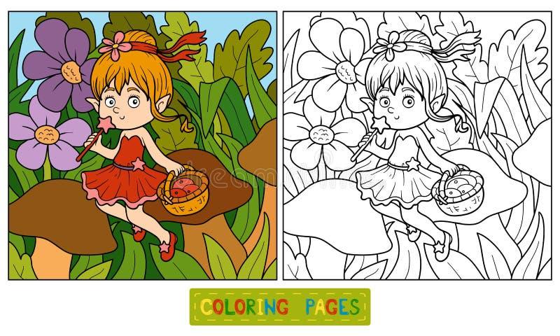 Libro de colorear (pequeña hada con una cesta de fruta) ilustración del vector
