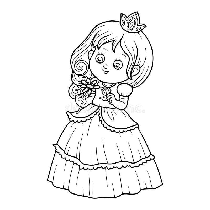 Libro de colorear, pequeña princesa con una flor stock de ilustración