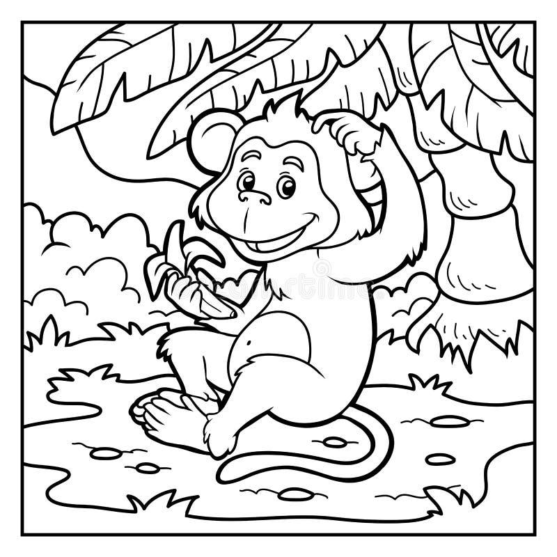 Libro De Colorear: Pequeño Mono Con Un Plátano Ilustración del ...