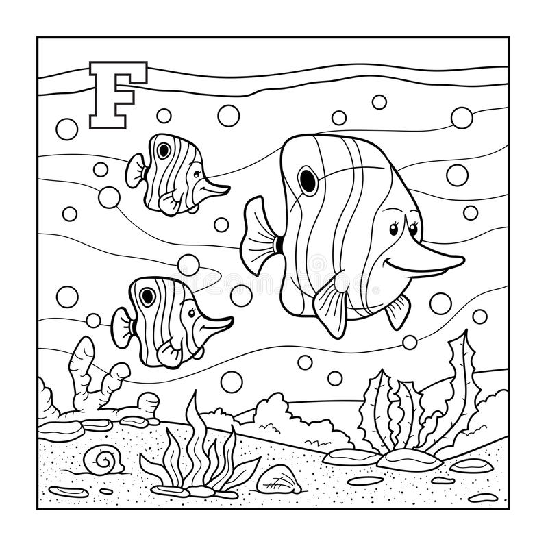 Libro de colorear (pescado), alfabeto descolorido para los niños: letra F stock de ilustración