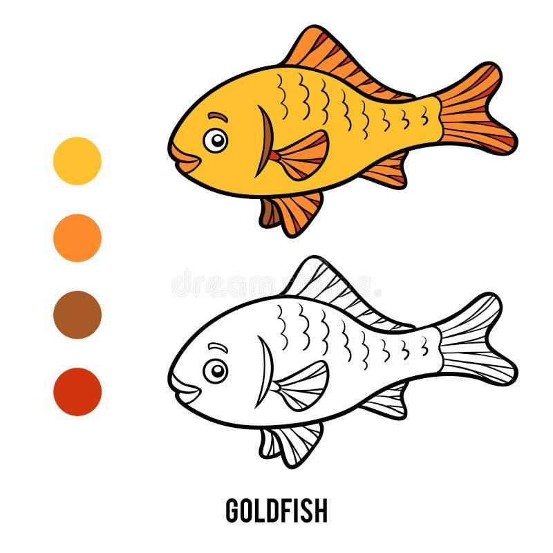 Libro de colorear, pez de colores stock de ilustración