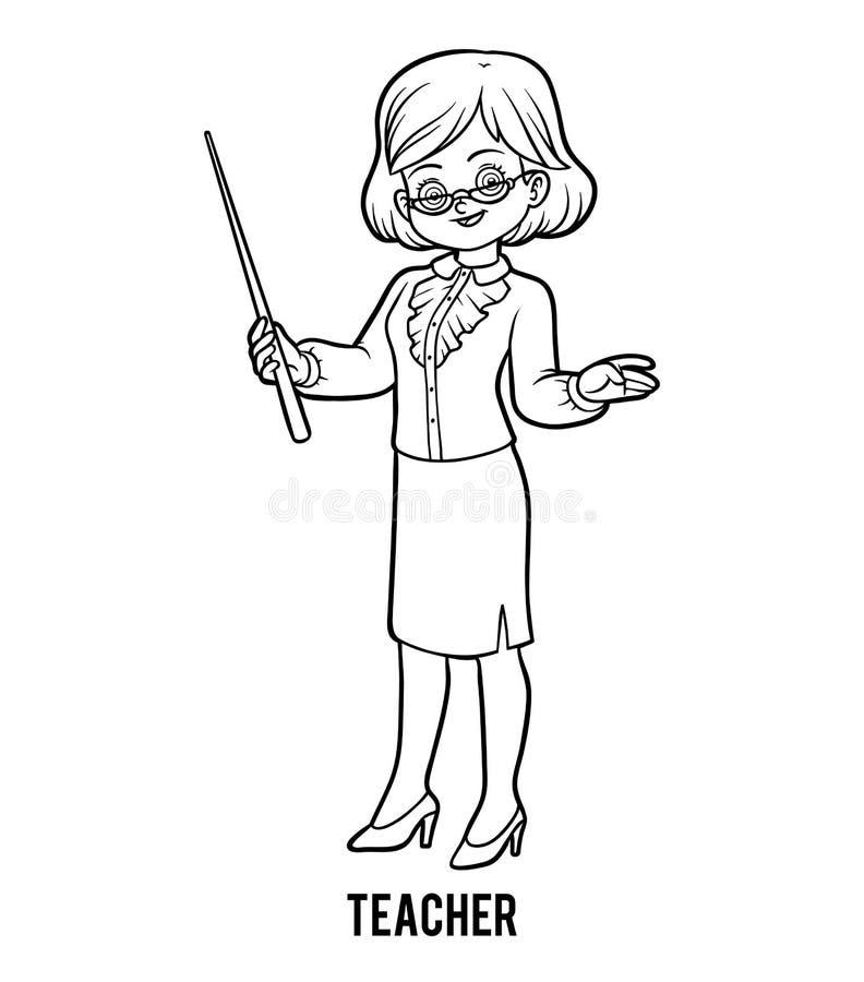 Libro de colorear, profesor ilustración del vector