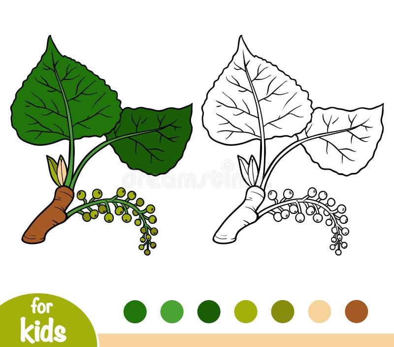 Libro de colorear, rama del álamo negro ilustración del vector