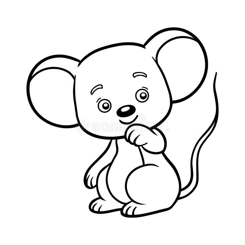 Libro de colorear, ratón ilustración del vector