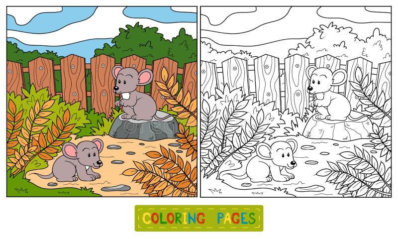 Libro de colorear (ratón) ilustración del vector