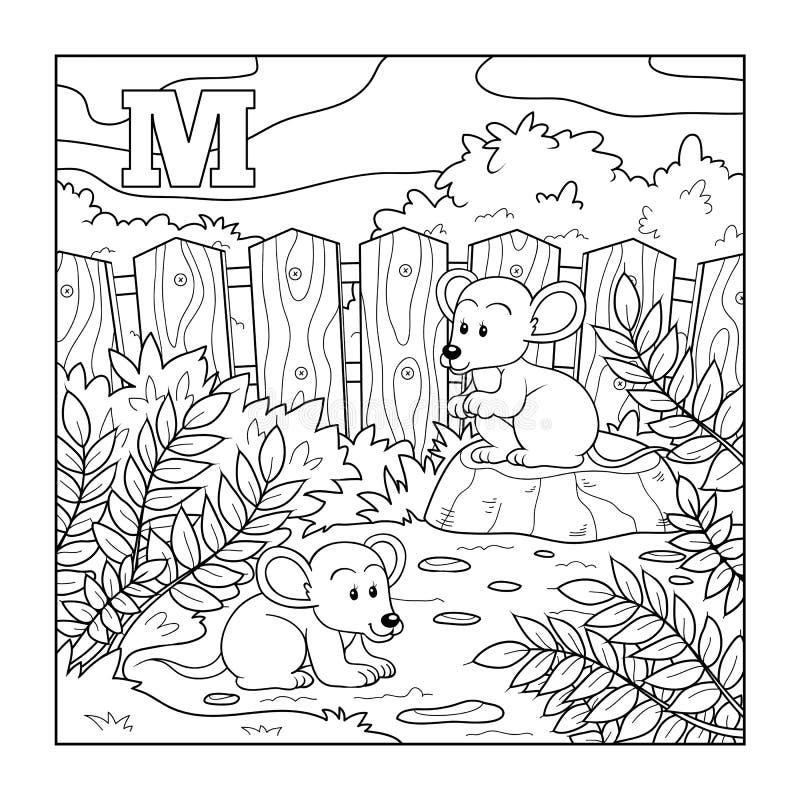 Libro de colorear (ratones), alfabeto descolorido para los niños: letra M stock de ilustración