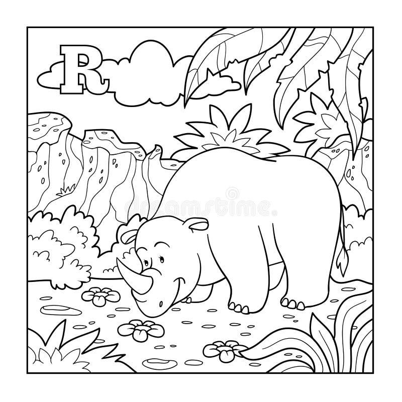Libro de colorear (rinoceronte), alfabeto descolorido para los niños: letra R libre illustration
