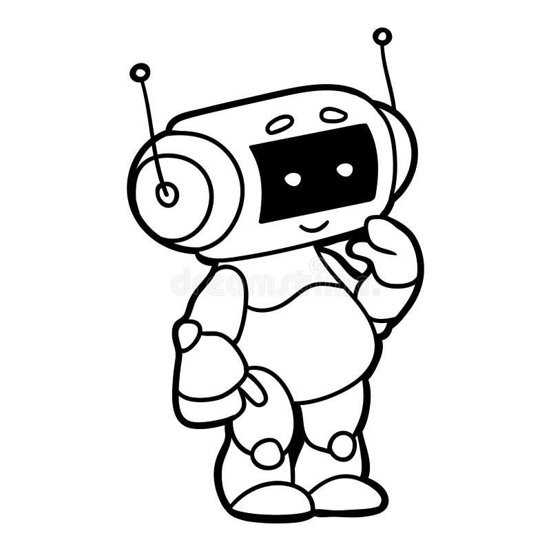 Libro de colorear, robot ilustración del vector. Ilustración de ...