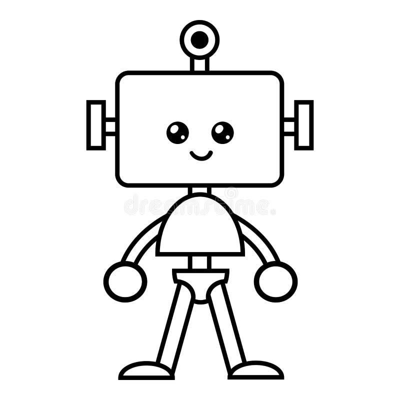 Libro de colorear, robot ilustración del vector