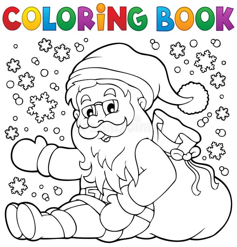 Libro de colorear Santa Claus en la nieve 1 ilustración del vector