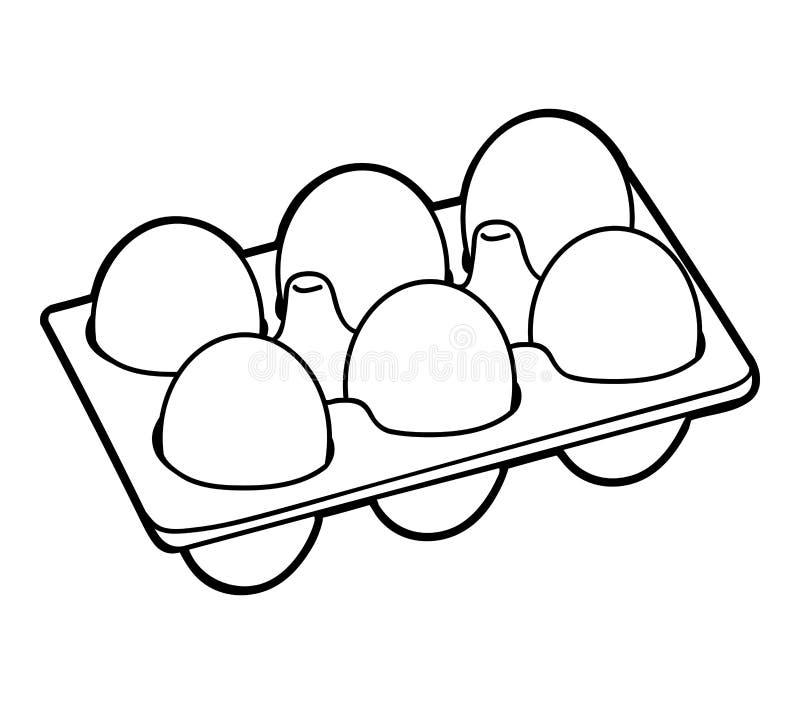 Libro de colorear, seis huevos del pollo libre illustration