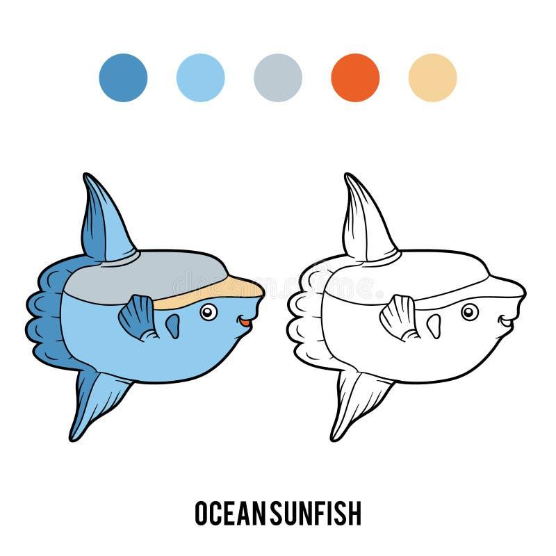 Libro De Colorear, Sunfish De Océano Ilustración del Vector ...