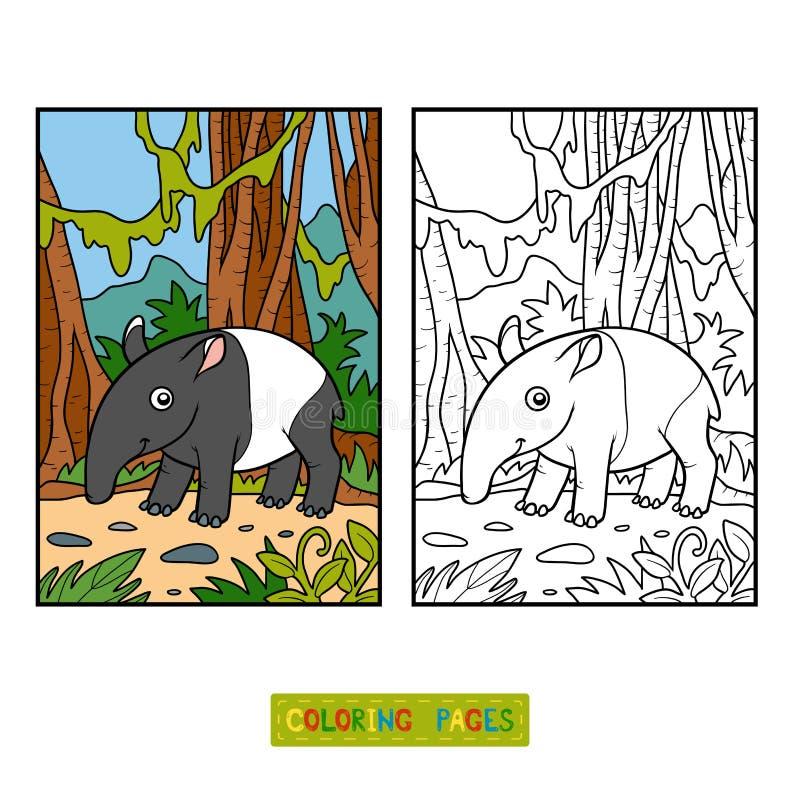 Libro de colorear, tapir malayo stock de ilustración