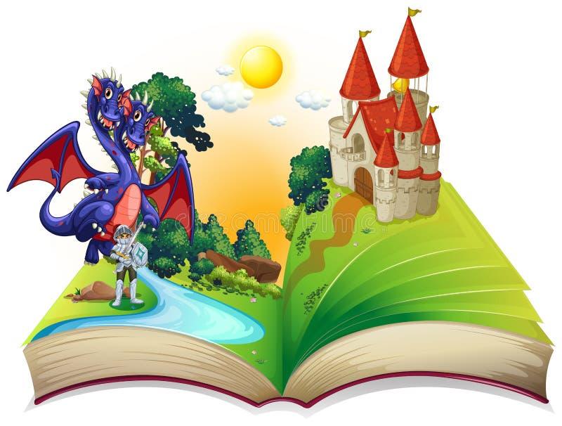 Libro de cuentos de hadas con el caballero y el dragón stock de ilustración
