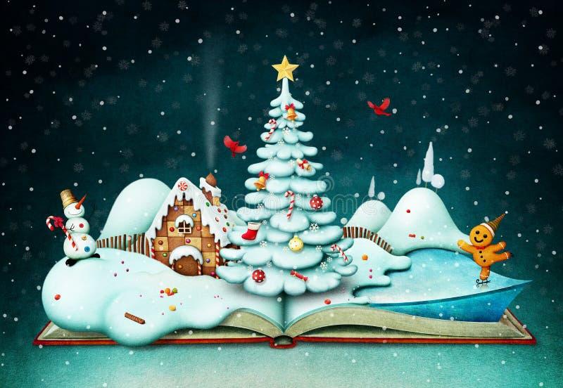 Libro de día de fiesta con escena de la Navidad foto de archivo