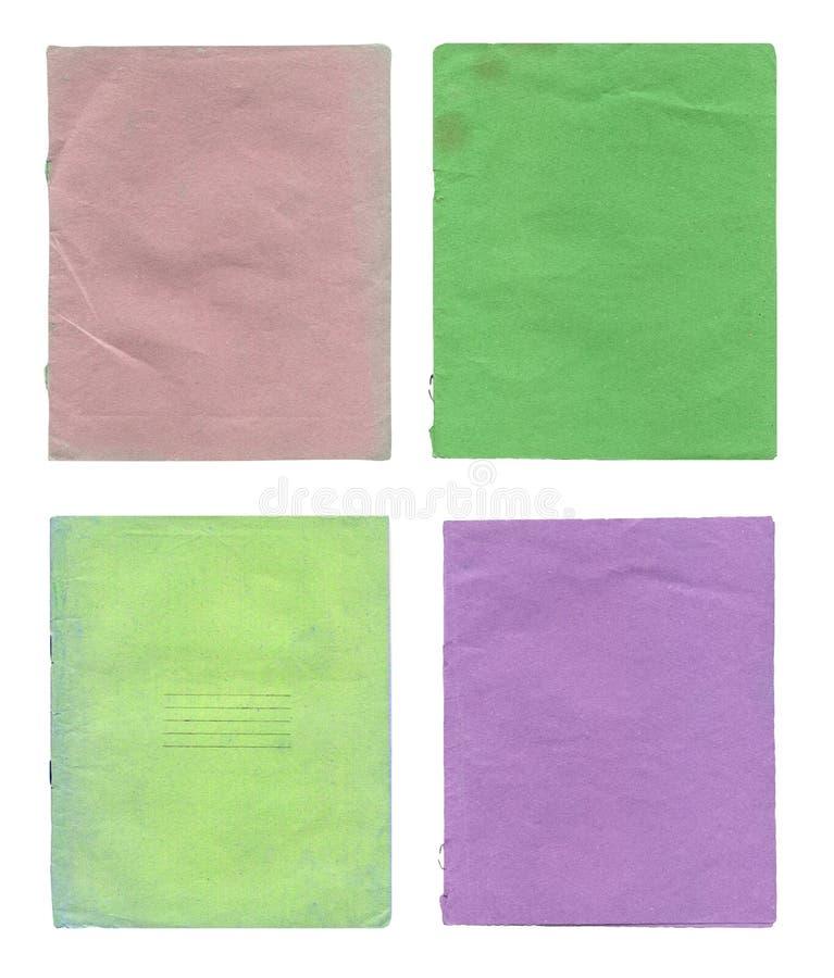 Libro de ejercicio aislado en blanco Vieja cubierta determinada del libro de ejercicio fotografía de archivo