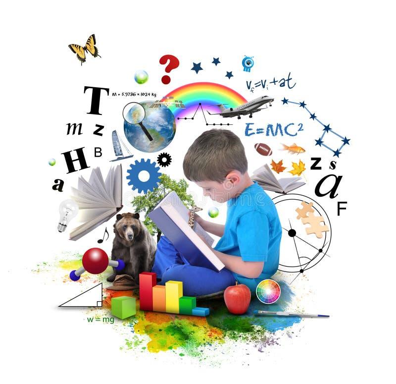 Libro de la educación de la lectura del muchacho en blanco stock de ilustración
