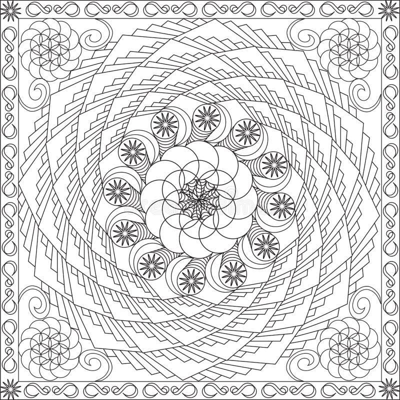 Libro de la página que colorea para el ejemplo espiral geométrico del vector del diseño floral del formato cuadrado de los adulto stock de ilustración