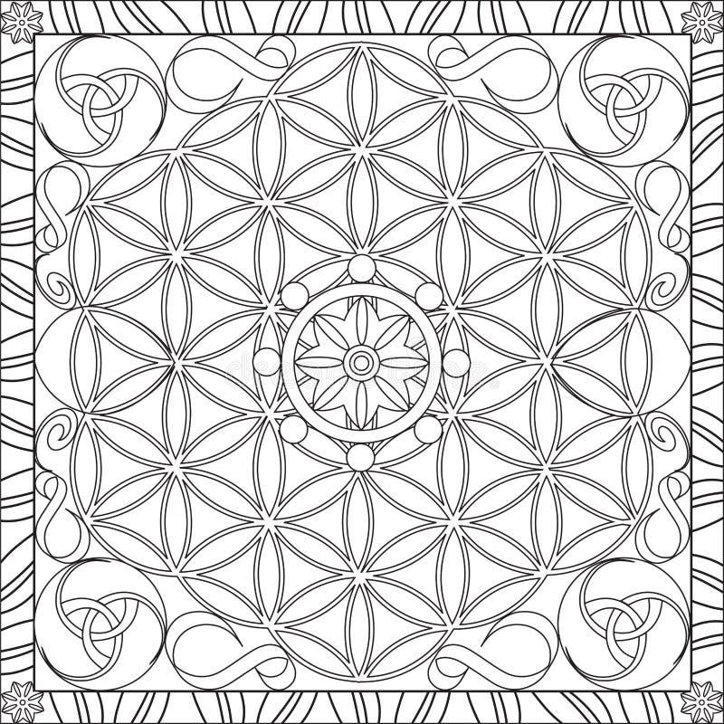 Libro de la página que colorea para la flor cuadrada del formato de los adultos de la vida Mandala Design Vector Illustration stock de ilustración