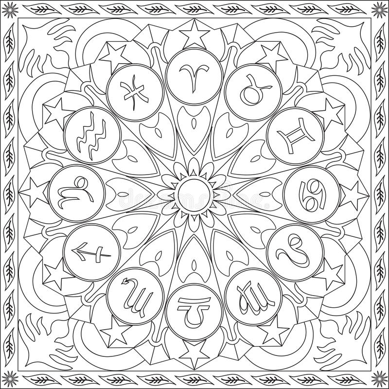 Libro de la página que colorea para la rueda cuadrada Mandala Design Vector Illustration de los iconos del zodiaco del formato de stock de ilustración