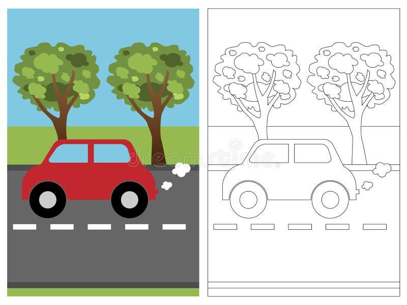 Libro de la paginación del colorante - coche libre illustration