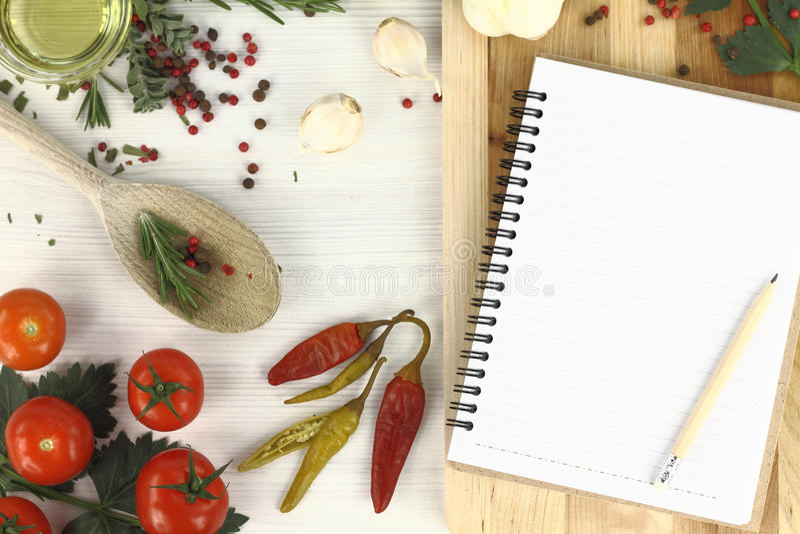Libro de la receta imagenes de archivo