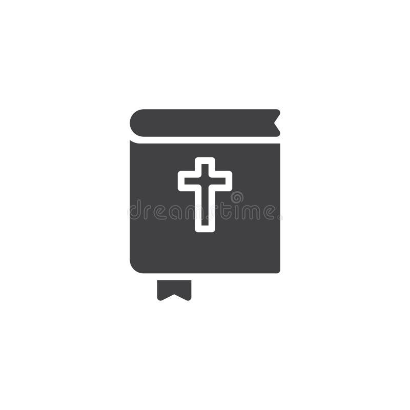Libro de la Sagrada Biblia con el icono del vector de la señal ilustración del vector