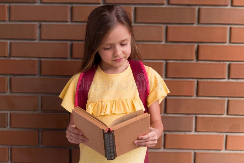 libro de la tenencia de la niña en fondo de la pared de ladrillo foto de archivo libre de regalías
