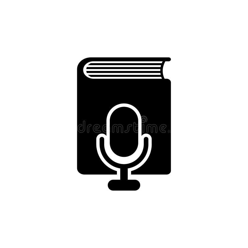 Libro de la voz a través del icono plano del vector del micrófono stock de ilustración