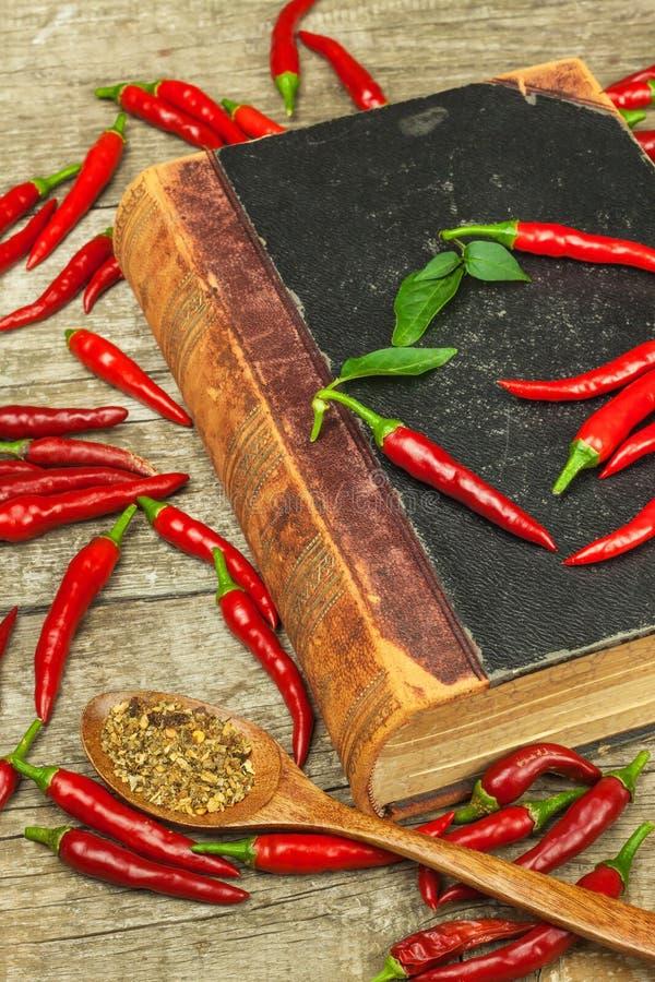 Libro de las viejas recetas de la cocina y de las pimientas de chile frescas Cocina picante Comida mexicana imagen de archivo libre de regalías