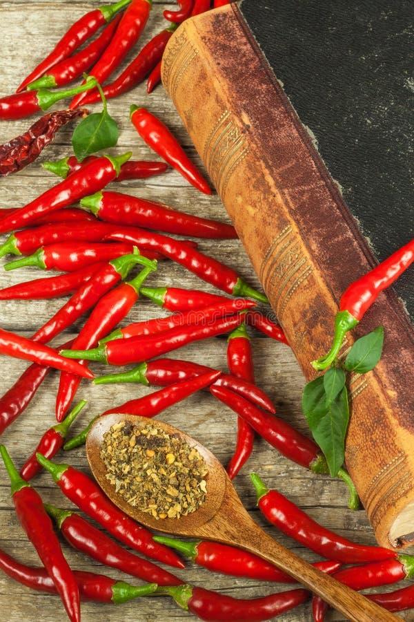 Libro de las viejas recetas de la cocina y de las pimientas de chile frescas Cocina picante Comida mexicana fotos de archivo libres de regalías