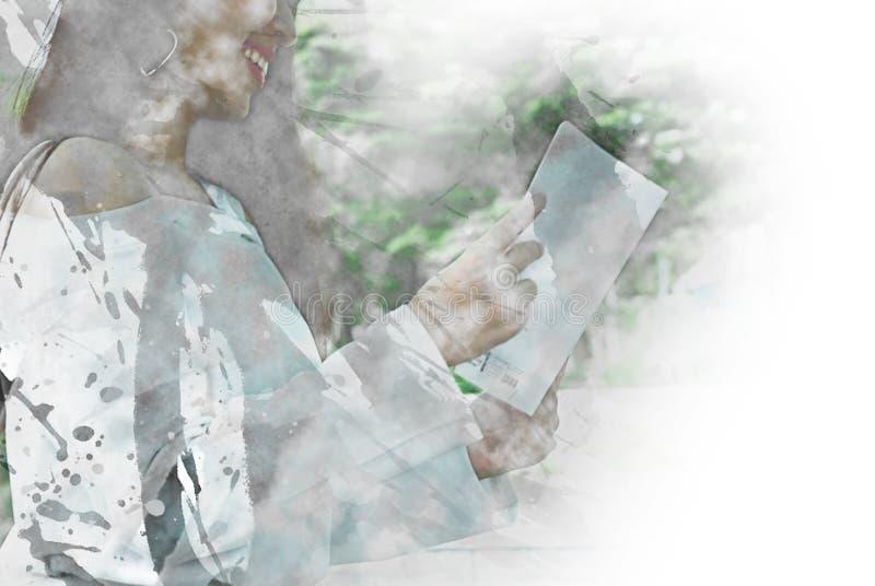 Libro de lectura adolescente de la muchacha del extracto en la pintura de la acuarela ilustración del vector