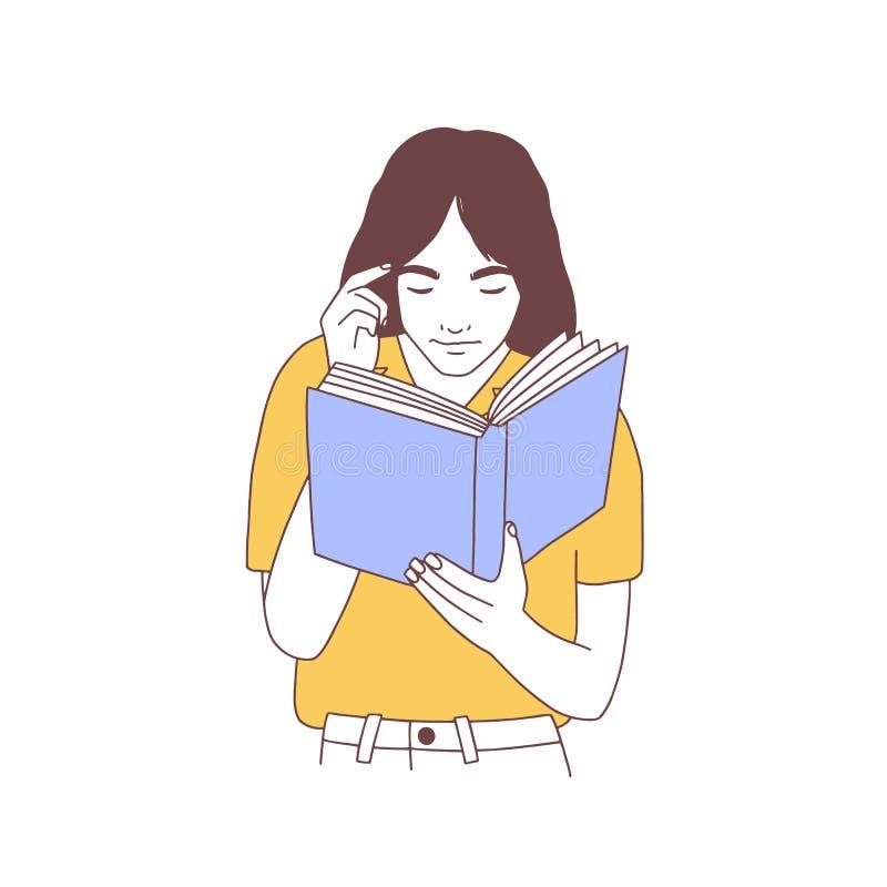 Libro de lectura adorable de la mujer joven o preparación para el examen Retrato exhausto de la mano de la muchacha, del estudian libre illustration