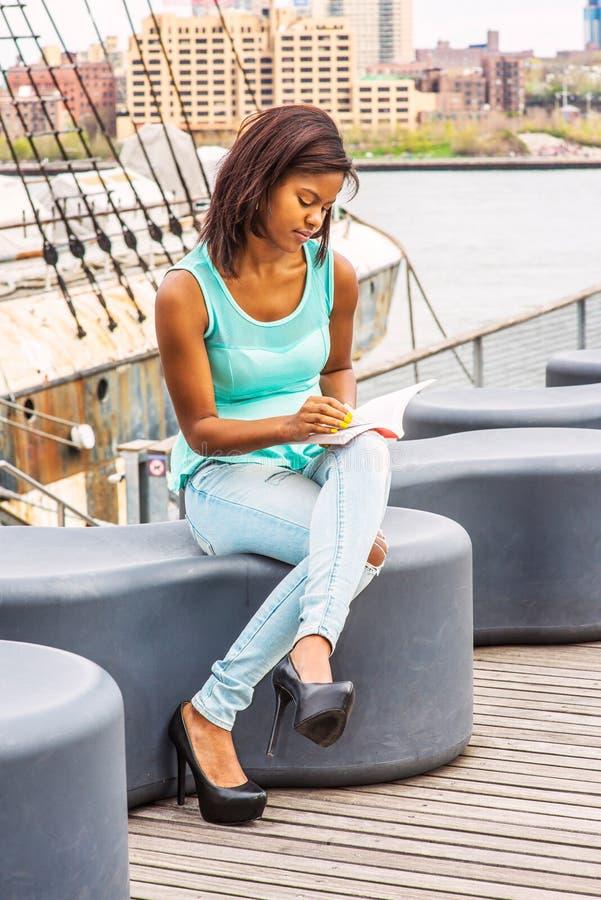 Libro de lectura afroamericano de la mujer por el río en Nueva York fotos de archivo