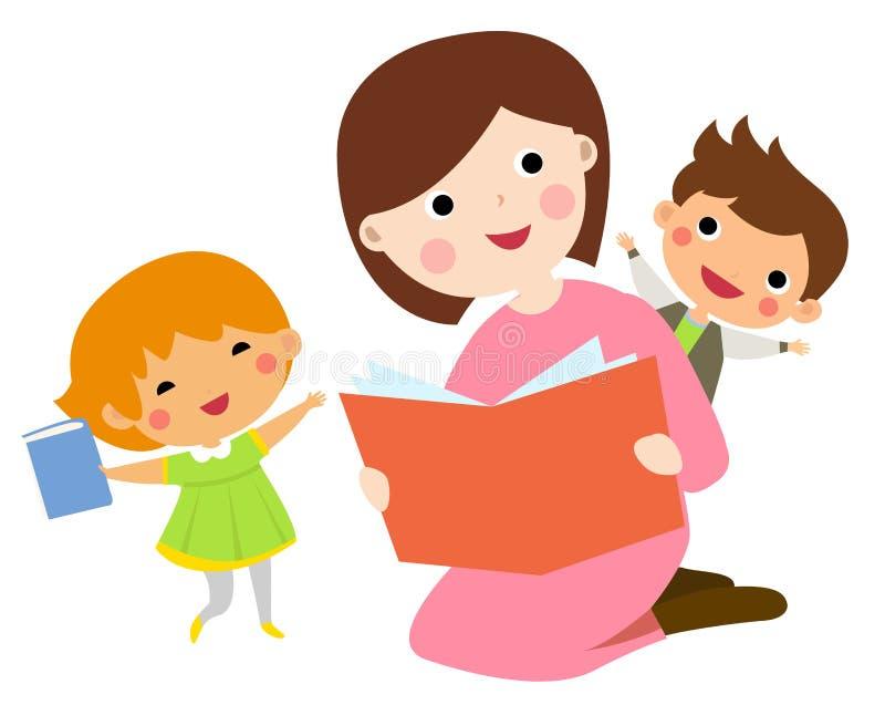 Libro de lectura de la madre a sus niños stock de ilustración