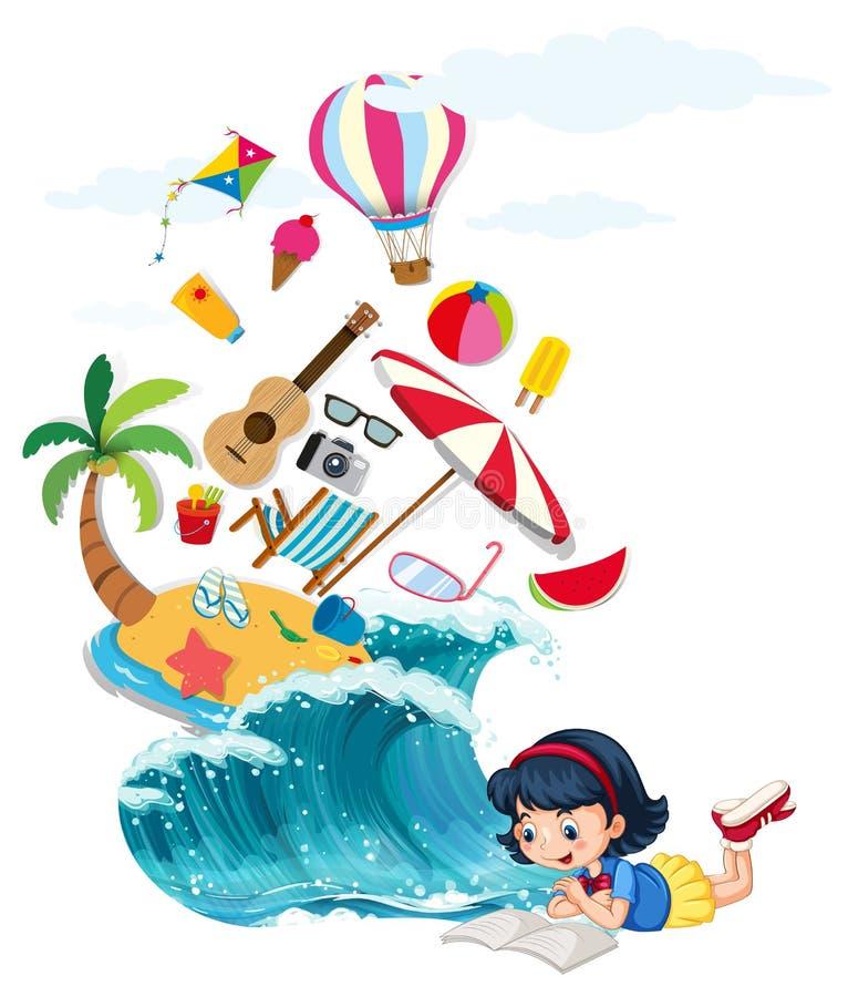 Libro de lectura de la muchacha con tema del verano libre illustration