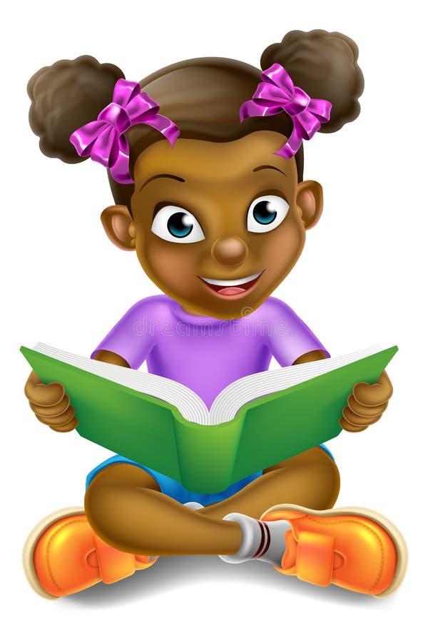 Libro de lectura de la muchacha de la historieta stock de ilustración