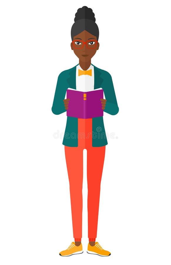Libro de lectura de la mujer ilustración del vector