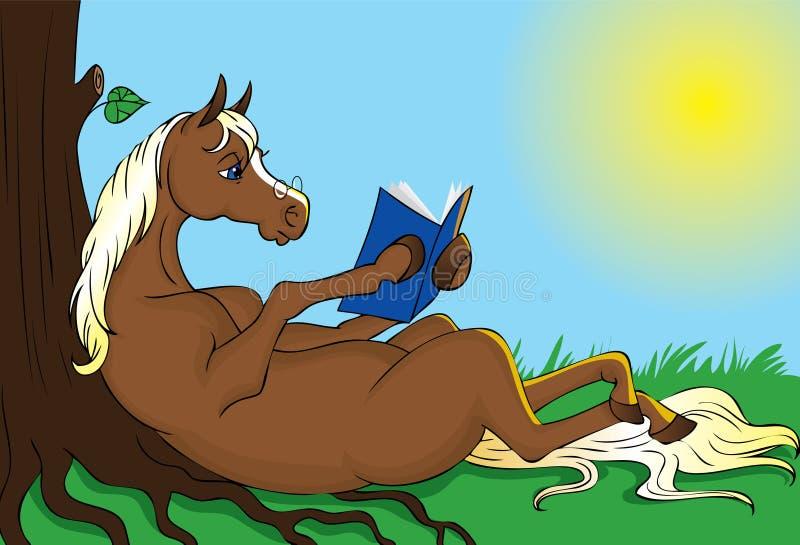 Libro de lectura del caballo stock de ilustración