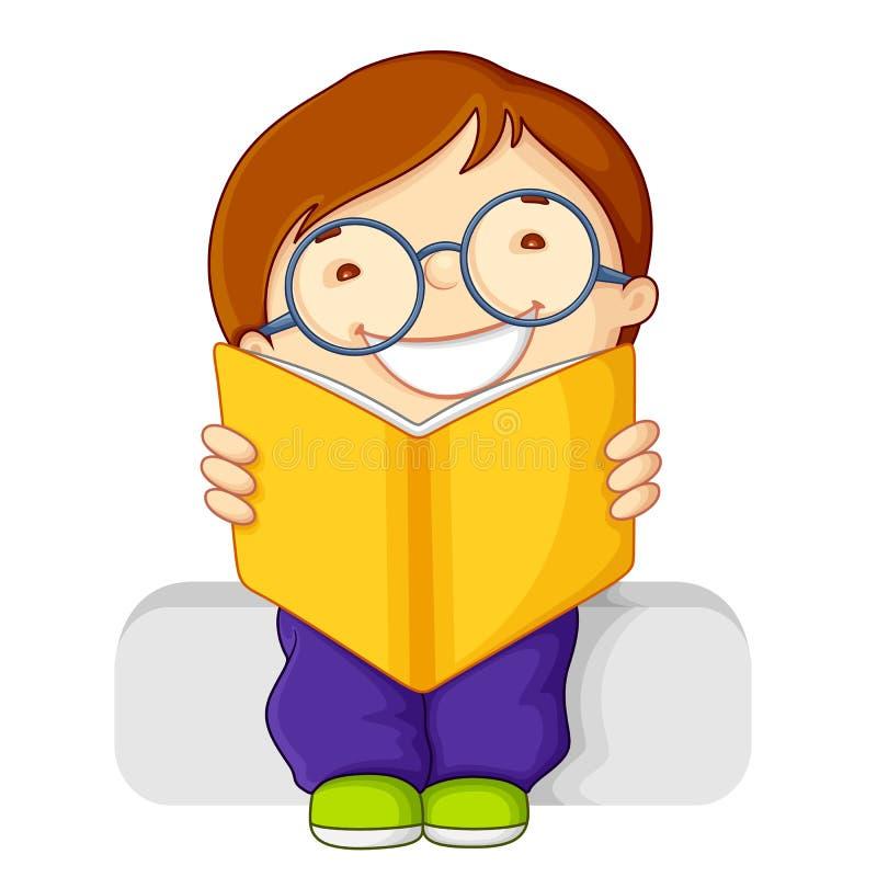 Libro de lectura del cabrito ilustración del vector