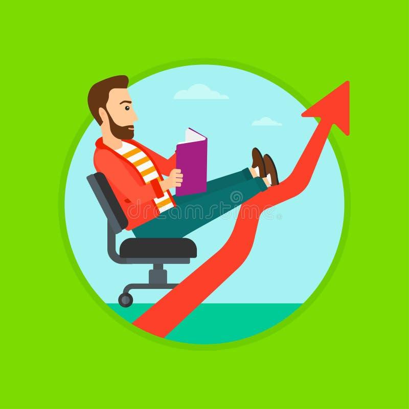 Libro de lectura del hombre de negocios stock de ilustración