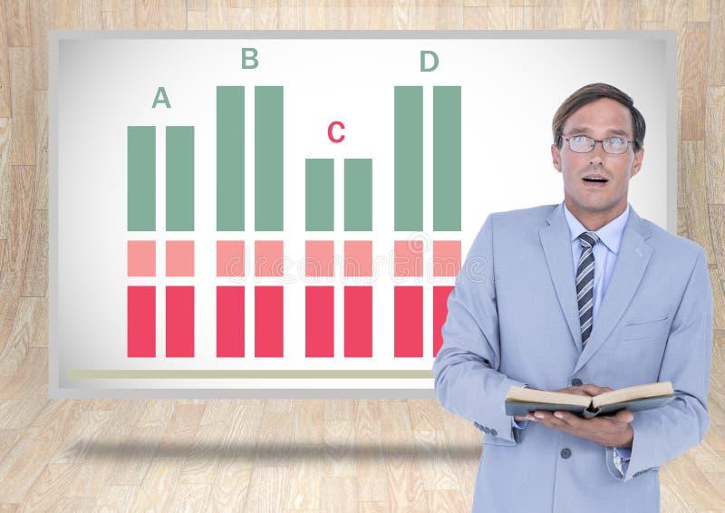 Libro de lectura del hombre de negocios con estadísticas coloridas de la carta imagenes de archivo