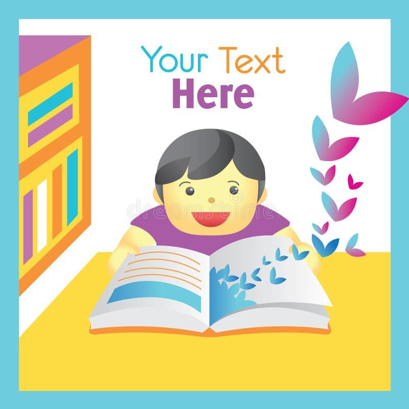 Libro de lectura del muchacho con la imaginación imagen de archivo libre de regalías