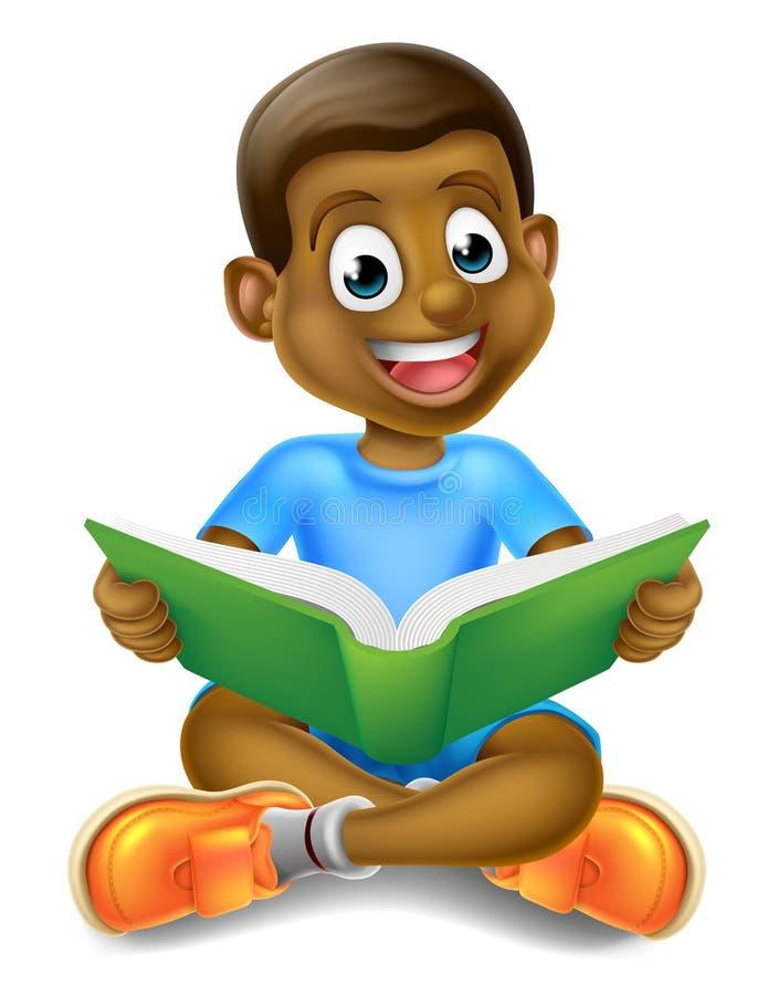Libro de lectura del muchacho de la historieta ilustración del vector