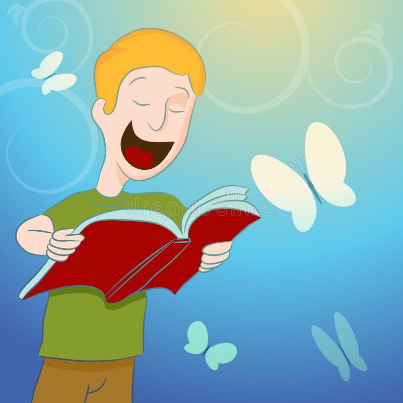 Libro de lectura del niño rodeado por Butterflies libre illustration