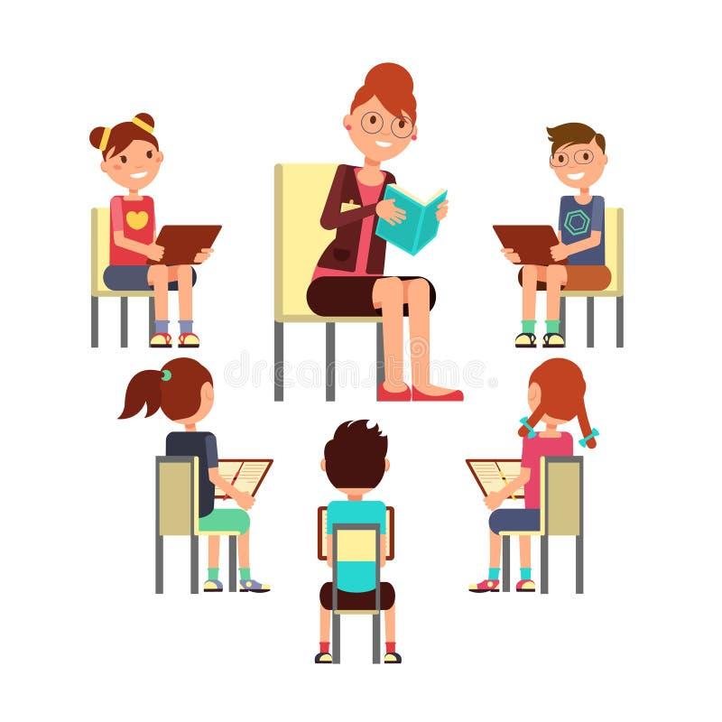 Libro de lectura del profesor a los niños esa sentada alrededor Embroma concepto del vector de la educación libre illustration