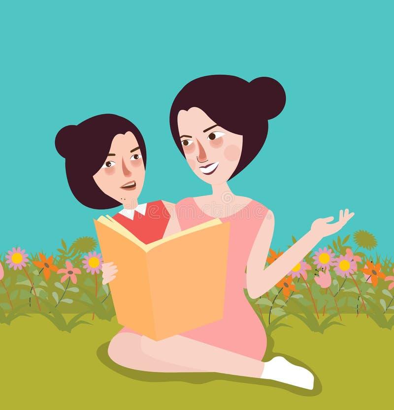 Libro de lectura en la mamá del jardín y su niñez al aire libre de los niños ilustración del vector