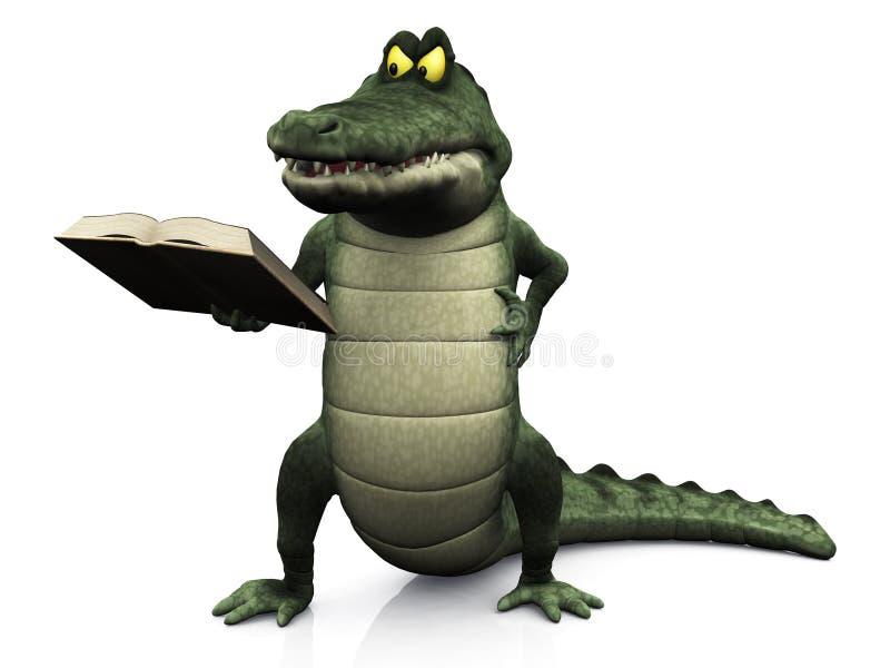 Libro de lectura enojado del cocodrilo de la historieta. libre illustration