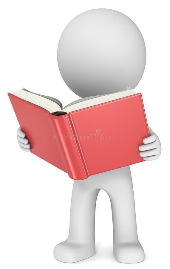 Libro de lectura ilustrado del hombre imagen de archivo libre de regalías